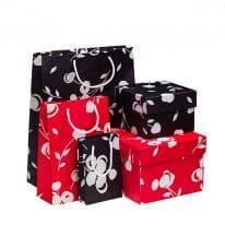 collezione loris of florence scatole shopper bags rosso nero linea cherry